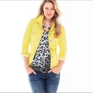 CAbi Field of Daisies Jacket L Floral Yellow White
